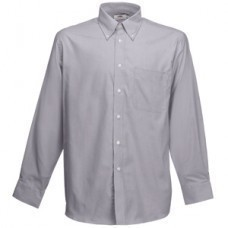 """Рубашка """"Long Sleeve Oxford Shirt"""", светло-серый_L, 70% х/б, 30% п/э, 135 г/м2"""