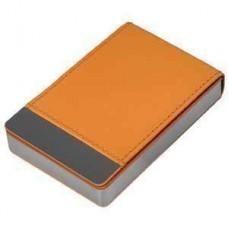"""Визитница """"Вертикаль""""; оранжевый; 9,5х6,4х1,7 см; иск. кожа, металл; лазерная гравировка"""