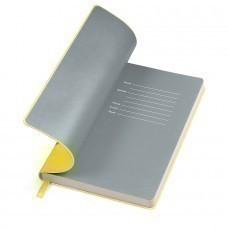 """Бизнес-блокнот """"Funky"""" желтый/с серым  форзацем, мягкая обложка,  линейка"""