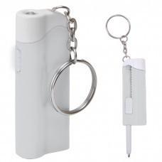 Брелок-фонарик с ручкой; белый, 2,2х6,5х1,3см, пластик