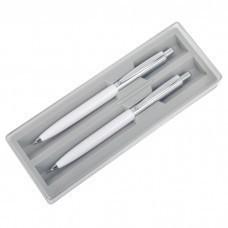 BUSINESS SET, набор: ручка шариковая и карандаш механический, белый/серебристый, металл/пластик