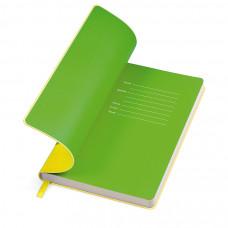 """Бизнес-блокнот """"Funky"""" желтый с зеленым форзацем, мягкая обложка,  линейка"""