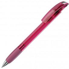 NOVE LX, ручка шариковая с грипом, прозрачный розовый/хром, пластик