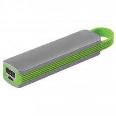 """Универсальное зарядное устройство """"Fancy"""" (2200mAh), серый с зеленым, 12,9х2,7х2,2 см,пластик"""