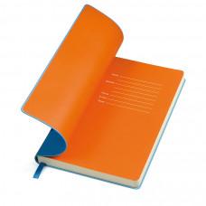 """Бизнес-блокнот """"Funky"""", 130*210 мм, голубой,  оранжеый форзац, мягкая обложка, блок-линейка"""