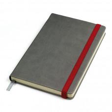 """Бизнес-блокнот """"Fancy"""", 130*210 мм, серый/красный, твердая обложка,  резинка 10 мм, блок-линейка"""