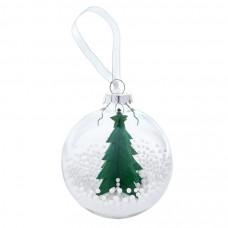 "Шар новогодний ""Ель"", диаметр 8 см., пластик, фетр, цвет-зеленый"