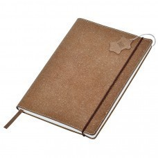 """Бизнес-блокнот А6  """"Indi""""  в клетку, 160 стр,  коричневый, рециклированная кожа"""