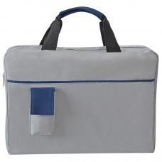 """Конференц-сумка """"Sense""""; серый с синим; 37х27x8 см; полиэстер; шелкография"""