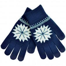 """Перчатки для сенсорных экранов """"СНЕЖИНКА"""", темно-синий, М, акрил, шеврон"""