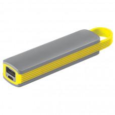 """Универсальное зарядное устройство """"Fancy"""" (2200mAh), серый с желтым, 12,9х2,7х2,2 см,пластик"""