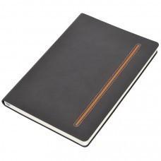 """Бизнес-блокнот А5  """"Elegance"""",  серый  с оранжевой вставкой, мягкая обложка,  в клетку"""