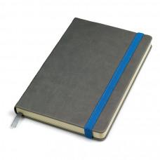 """Бизнес-блокнот """"Fancy"""", 130*210 мм, серый/синий, твердая обложка,  резинка 10 мм, блок-линейка"""