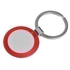 "Брелок ""Круг"" красный; 3,5х3,5х0,5 см; металл, пластик; лазерная гравировка"