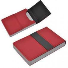 """Визитница """"Меридиан""""; красный; 9,5х6,4х1,6 см; иск. кожа, металл; лазерная гравировка"""