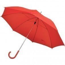 Зонт-трость с пластиковой ручкой, механический; красный; D=103 см; нейлон; шелкография