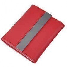 Футляр для карт; 20 кармашков; красный; 10,7х8,5х1,8 см; иск. кожа, металл; лазерная гравировка