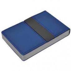 "Визитница ""Меридиан""; синий; 9,5х6,4х1,6 см; иск. кожа, металл; лазерная гравировка"