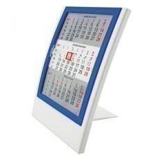 Календарь настольный на 2 года; белый с синим; 12,5х16 см; пластик; шелкография, тампопечать