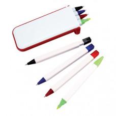 """Набор """"Help"""": две цветных шариковых ручки,карандаш и маркер; красный; 13х1,2х5,2 см.; пластик"""