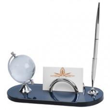 """Набор настольный: подставка для визиток, авторучка """"ГЛОБУС""""; 21,5х8,5х10,3 см; металл, стекло; лазер"""