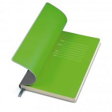"""Бизнес-блокнот """"Funky"""", 130*210 мм,  серый, зеленый форзац, мягкая обложка, блок-линейка"""