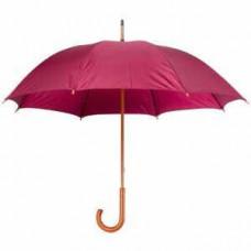 Зонт-трость механический, деревянная ручка, нейлон, D=105, бордовый