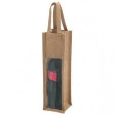 Упаковка для одной бутылки; 10,5х35,5х10см; джут; шелкография, шильд