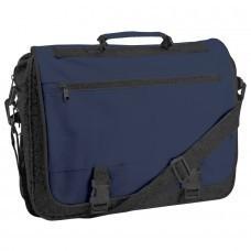 """Конференц-сумка """"Expo""""; черный с синим; 39х29х9 см; полиэстер; шелкография"""