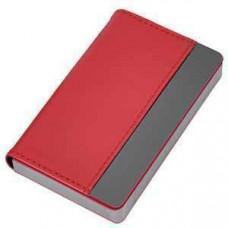 """Визитница """"Горизонталь""""; красный; 10х6,5х1,7 см; иск. кожа, металл; лазерная гравировка"""