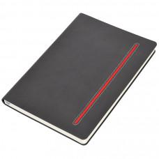 """Бизнес-блокнот А5  """"Elegance"""", серый  с красной вставкой, мягкая обложка,  в клетку"""