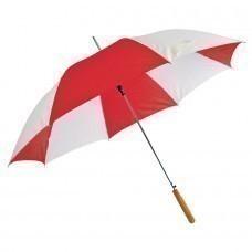 """Зонт-трость """"Joy"""" с деревянной ручкой, полуавтомат; белый с красным; D=103 cм; нейлон; шелкография"""