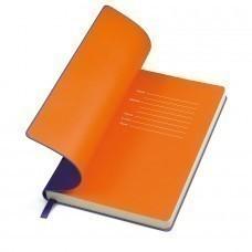 """Бизнес-блокнот """"Funky"""" фиолетовый с оранжевым форзацем, мягкая обложка,  линейка"""