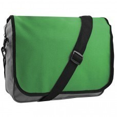 "Конференц-сумка ""College""; серый с зеленым; 38х30х9,5 см; полиэстер; шелкография"