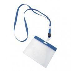 Ланъярд с держателем для бейджа; синий; 11,2х48,5х0,5 см; полиэстер, пластик; тампопечать, шелкограф