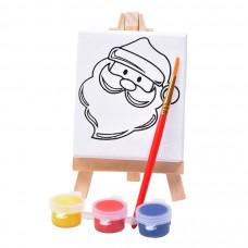 """Набор для раскраски """"Дед Мороз"""":холст,мольберт,кисть, краски 3шт, 7,5х12,5х2 см, дерево, холст"""