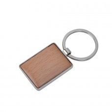 """Брелок """"Woody"""" прямоугольный, 3х4х0,5см, дерево, металл"""