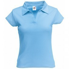 "Поло ""Lady-Fit Rib Polo"", небесно-голубой_XS, 100% х/б, 220 г/м2"