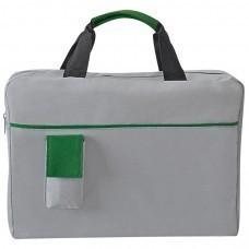 """Конференц-сумка """"Sense""""; серый с зеленым; 37х27x8 см; полиэстер; шелкография"""