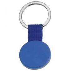 """Брелок """"Круг"""" синий; 6,5х3 см; металл, пластик, текстиль; лазерная гравировка, тампопечать"""