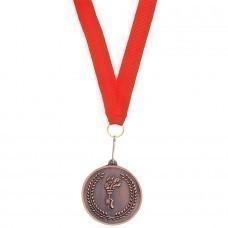"""Медаль наградная на ленте """"Бронза""""; 48 см., D=5см.; текстиль, металл; лазерная гравировка, шелкограф"""