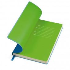"""Бизнес-блокнот """"Funky"""", 130*210 мм, голубой,  зеленый форзац, мягкая обложка, блок-линейка"""