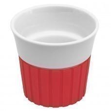 Чашка с силиконовой вставкой, красная; 10х10х9 см, 330 мл; фарфор, силикон; деколь