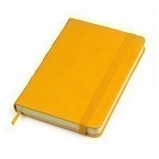 """Бизнес-блокнот """"Casual"""", 130*210 мм, желтый, твердая обложка,  резинка 7 мм, блок-линейка, тиснение"""