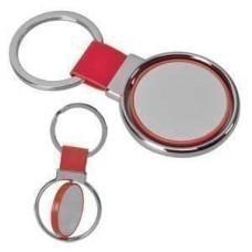 """Брелок """"Круг вращения """" красный; 8х4 см; металл, искусственная кожа, пластик; лазерная гравировка"""