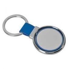"""Брелок """"Круг вращения """" синий; 8х4 см; металл, искусственная кожа, пластик; лазерная гравировка"""