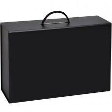 Коробка  складная подарочная  с ручкой,  черный, 37x25 x10cm,  кашированный картон, тисн