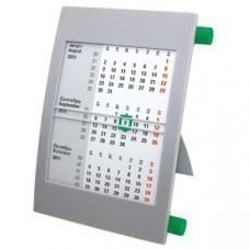 Календарь настольный на 2 года; серый с зеленым; 18х11 см; пластик; шелкография, тампопечать
