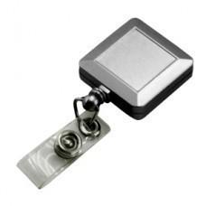 Держатель для бейджа, магнитной карты; серебристый; 3,2х3,2х0,8 см, длина шнура 90 см; пластик; тамп