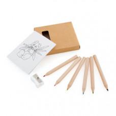 Набор цветных карандашей с раскрасками и точилкой, 7,4х9х1,5см, дерево, картон, бумага